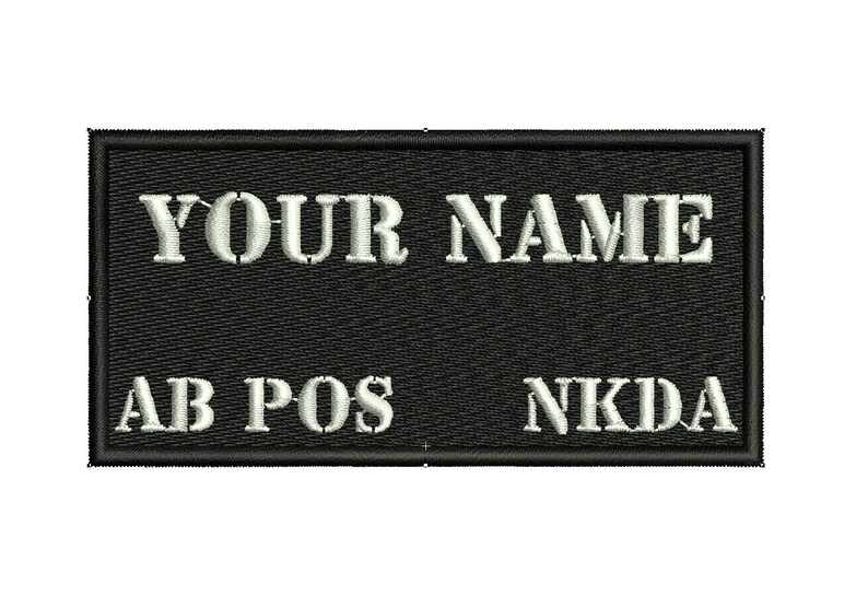 40b1c67600a4 Custom Embroidered Name Tag Patch BLOOD TYPE with hook and loop fasteners  or Sew on.