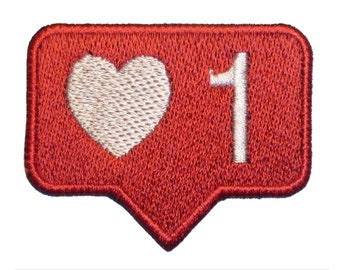 """Embroidered PATCH """" LIKE""""  with hook and loop fasteners or Sew-on, iron-on."""