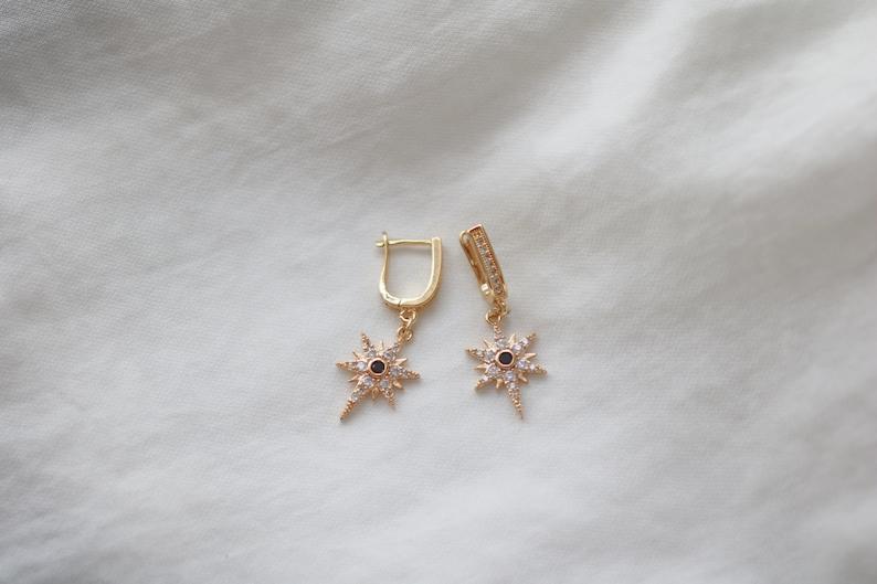 Dainty Earrings North Star Hoop Earrings Bridesmaids gift Gold Huggie Earrings Starburst Earrings