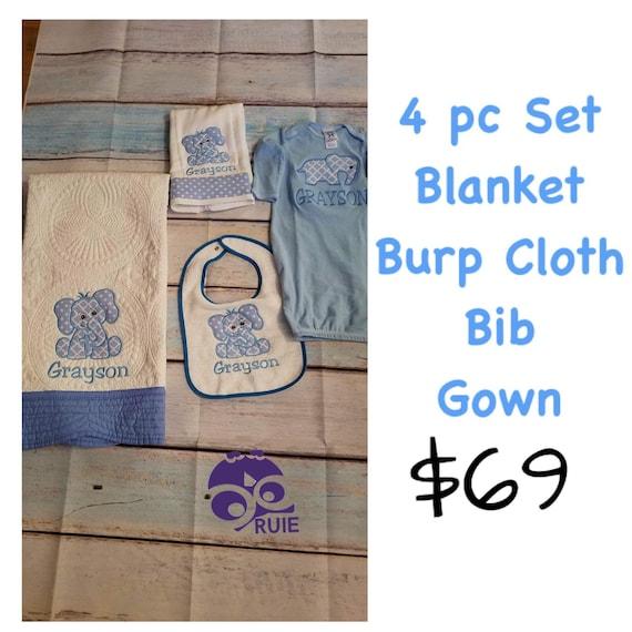 Monogram Scallop Letter Personalized Baby Toddler Blanket /& Bib Set