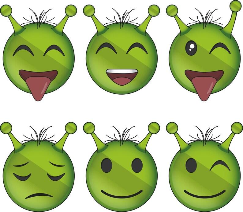 Cute Alien Emoji Svg Png Jpg Cute Emoji Alien Emoji Lovable Etsy