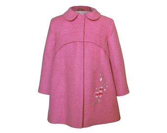 Girls' coat, transitional coat, girls' spring/autumn coat, pink girls' coat, girls' clothing, outwear for kids
