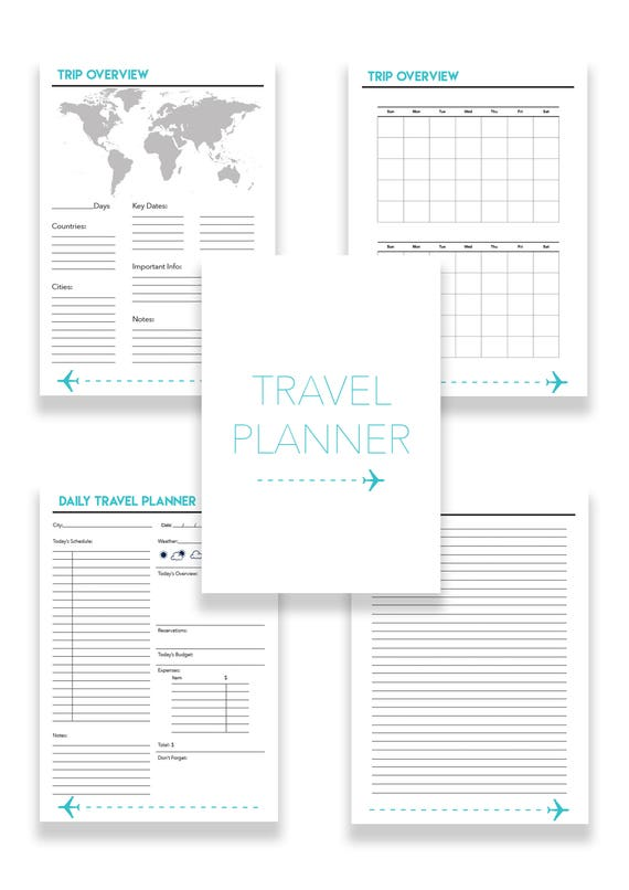 items similar to daily travel planner printable on etsy
