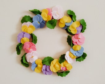 Handmade Felt Pansy Viola Pastel Wreath - Purple, Pink, Yellow, Blue and Green Colours - Wall Decoration, Gift