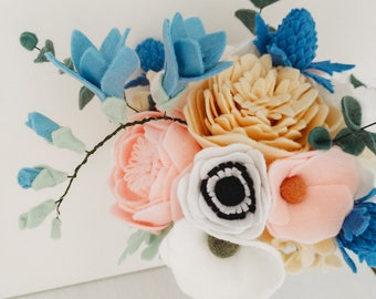 Handmade Pastel Pink Blue Cream White Felt Flower Bridal Wedding Bouquet Home Decor - Anemone, Camellia, Hydrangea, Peony, Tulip, Thistle