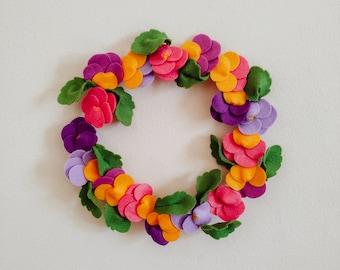 Handmade Felt Pansy Viola Wreath - Orange, Purple, Yellow and Green Colours - Wall Decoration, Gift