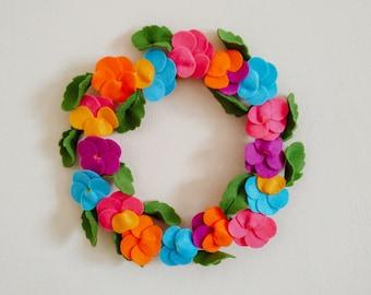 Handmade Felt Pansy Viola Wreath - Orange, Purple, Pink, Yellow, Blue and Green Colours - Wall Decoration, Gift