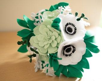Handmade White and Green Felt Flower Bridal Wedding Bouquet Home Decor - Anemone, Succulent, Dusty Miller, Hydrangea, Eucalyptus, Foliage