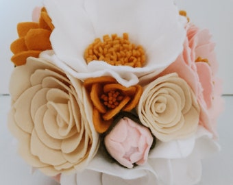 Handmade Pastel Pink Mustard Cream White Felt Flower Bridal Wedding Bouquet Home Decor - Anemone, Hydrangea, Rose, Tulip, Peony