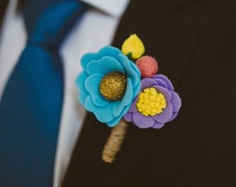 Handmade Pastel Blue Pink Purple Yellow Sparkly Felt Flower Wedding Buttonhole - Groom Boutonniere