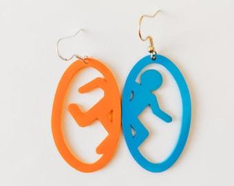 Handmade Blue and Orange Portal Shrinky Dink Shrink Plastic Spray Painted Earrings