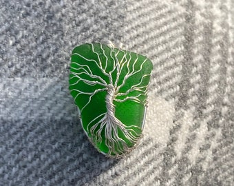 Beautiful green Tree of Life sea glass pendant - Handmade in Scotland