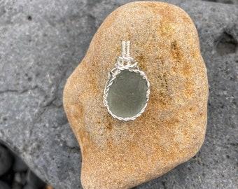 Scottish grey sea glass pendant - Handmade in Scotland
