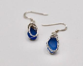 Scottish beautiful blue sea glass earrings - Handmade in Scotland