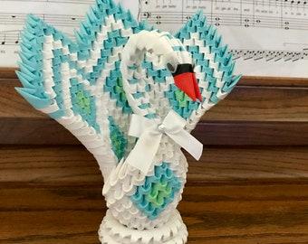 3D Origami Diamond patterned Swan