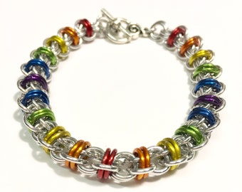Rainbow Chainmail Ladder Bracelet