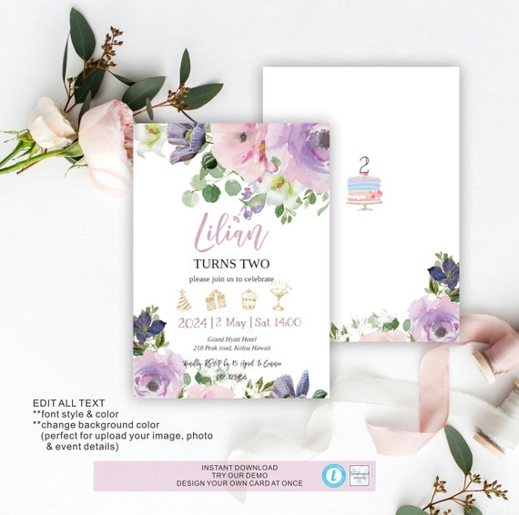 Birthday Invitation Template Floral Invitation Template Diy Card Birthday Template Purple Birthday Template Digital Download Dbc 9
