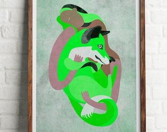 FOX GREEN wall art, A4 print, illustration, apis, vegan, kindness to animals ahimsa art