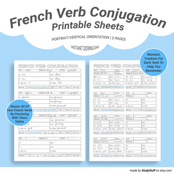 French Language Verb Conjugation Practice Worksheets Printable Etsy