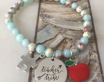 Teacher tribe bracelet with apple and puzzle piece charms