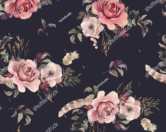 Feathery Floral, Imported Fabric