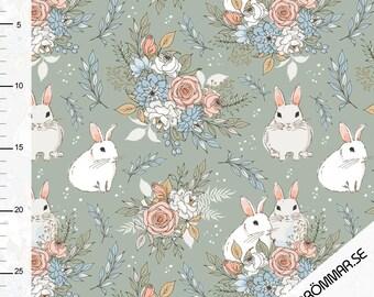 Tygdrommar Knit Organic Fabric, Garden Bunnies, European Knit Fabric, GOTS Certified Organic