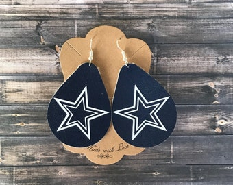 3985f0b7bae Dallas cowboy leather earrings - dallas cowboys- leather jewelry - sports -  cowboy fans -