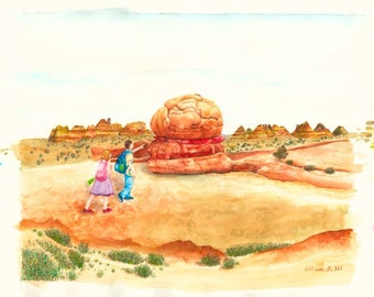 The Hamburger Rock, The Wave, Coyote Buttes North, Original Painting