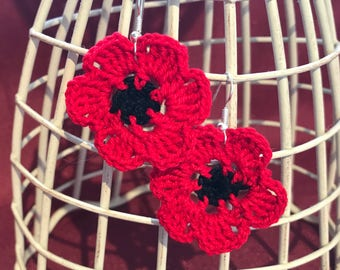 Large poppy earrings