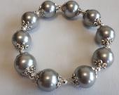 Large Beaded Silver Bracelet