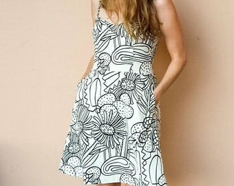 Cotton Sundress in Black White Floral Print with Adjustable Straps