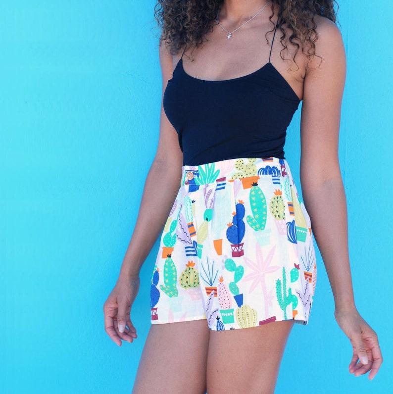 Cactus Print Hi Waisted Cotton Shorts with Pockets
