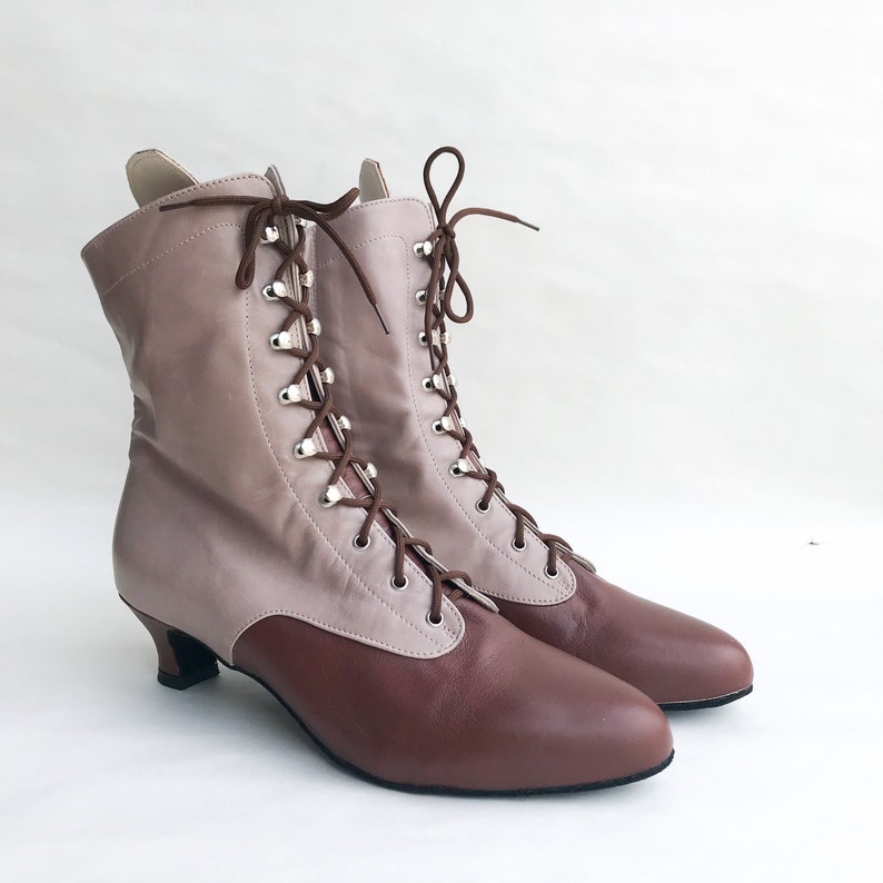 Steampunk Boots & Shoes, Heels & Flats Victorian historical woman boots in brown leather style 127_40T Paoul $398.00 AT vintagedancer.com