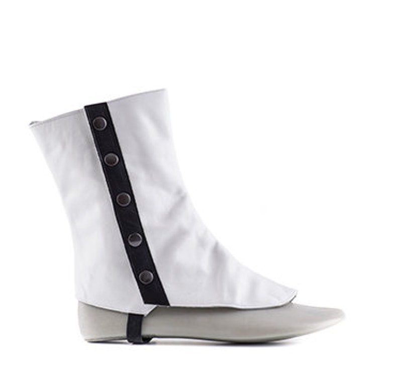 Spats, Gaiters, Puttees – Vintage Shoes Covers 19th century historical men spats in white and black leather style 715 Paoul Darcy $90.36 AT vintagedancer.com