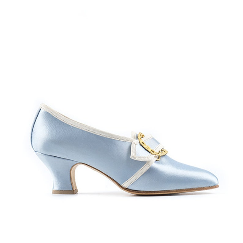 18th century historical woman shoes in light-blue satin style image 0
