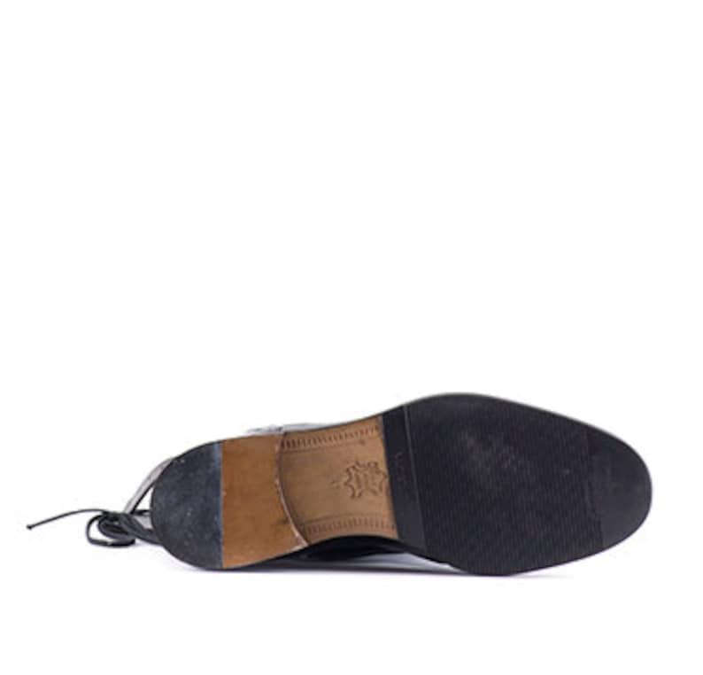 Seicento stivali storici moschettiere uomo in pelle nera EpBG2Gp9