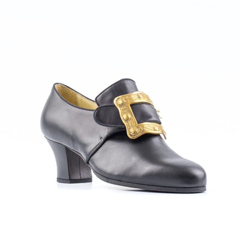 Paoul Philippe 18th century black leather man shoes style image 0