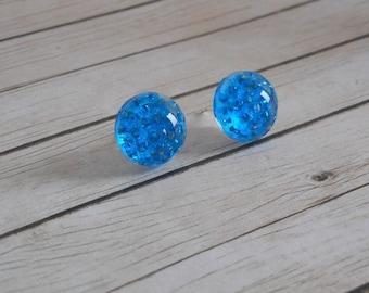 Blue Stud Earrings resin