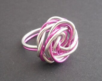 two-tone Pink Silver rose ring
