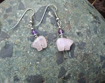 Rose Quartz Zuni Bear with Amethyst Earrings