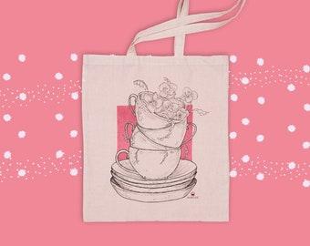 Illustration of tea cups | Tote bag