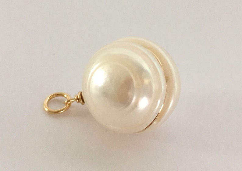 13x11 mm White Circled Pearl  Large Round Pearl  DIY Jewelry Making Supply  Chain Necklace Freshwater Pearl /& Gold Filled Pendant  A