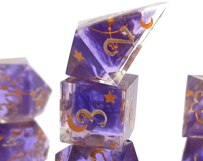 Featured listing image: Wizard Hat   Sharp Edge 7 piece polyhedral DnD ttrpg dice