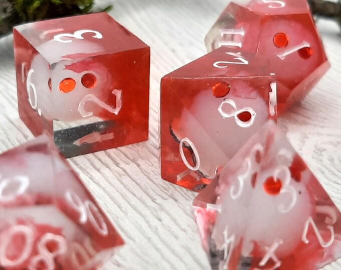 Featured listing image: Albino Mothman | Sharp Edge 7 piece polyhedral DnD ttrpg dice