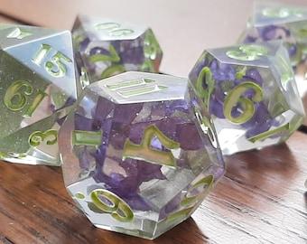Lilacs B-GRADE   Sharp Edge 7 piece polyhedral DnD ttrpg dice