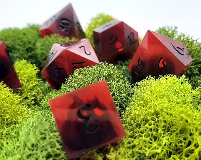Featured listing image: Mothman   Sharp Edge 7 piece polyhedral DnD ttrpg dice