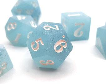 December Mornings | Sharp Edge 7 piece polyhedral DnD ttrpg dice