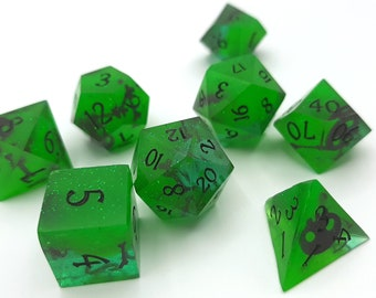 Toxic Slimes | Sharp Edge 7 piece polyhedral DnD ttrpg dice