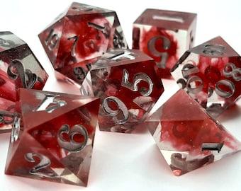 Blood and Steel | Sharp Edge 7 piece polyhedral DnD ttrpg dice