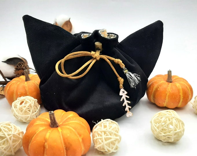 Featured listing image: Spooky Cat - Small Bag For Dice, Crystals, or Jewelry
